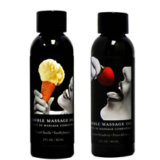 Twin Pack Edible Massage Oil Strawberry & Vanilla Flavoured Erotic Massage Oil
