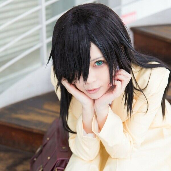 Watamote Kuroki Tomoko Black Short Straight Anime Party Hair Cosplay Wig