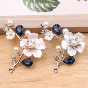 2X-Natural-Shell-Flower-Brooch-Vintage-Blue-Glass-Crystal-Brooch-O9A6