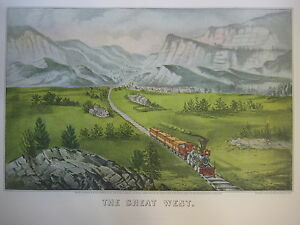 Vintage-Currier-amp-Ives-America-Color-Print-The-Great-West