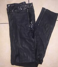 TopShop Black Faux Leather & Patent Biker Style Trousers/ Leggings Size UK 10