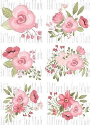 6 Watercolor Flower Waterslide Decals for Tumblers Mugs Candles SEALED Set #24