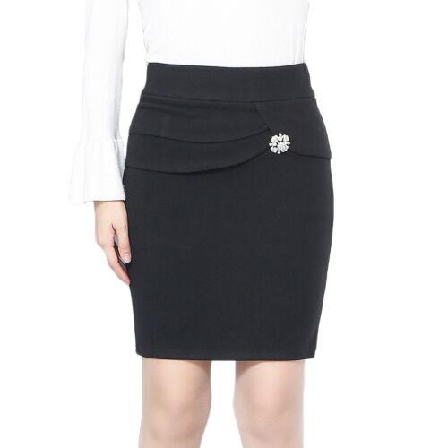 New Women/'s High Waisted Plain Midi Pencil Bodycon Stretch Work Office Skirt