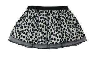 Ladies 101 Dalmatian Pleated Tutu Skirt Plush Puppy Faux Fur Fancy Dress