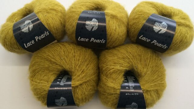 Wolle 125 gramm Lana Grossa Lace Pearls Farbe 2 Senf    5 Knäuel a 25 gramm