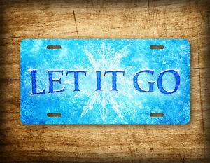 LET IT GO License Plate Disney Frozen Movie Theme Auto Tag Snowflakes Ice Elsa