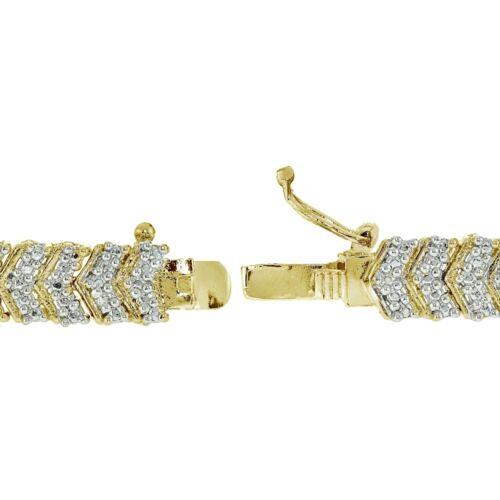 18K Ton Or 0.25 CT DIAMANT NATUREL Chevron Tennis Tennis Bracelet en laiton