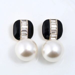 INSTYLE-FAUX-PEARL-GOLD-TONE-CRYSTAL-STUD-EARRINGS-CLASSY-GIFT-LADY