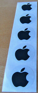 Apple-logo-stickers-in-BLACK-unusual-set-of-FIVE-each-40mm-across-NEW
