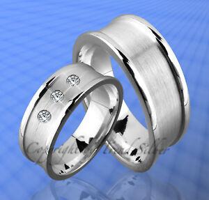 3 Stein Gravur Gratis ; J89-3 ZuverläSsige Leistung 2 Silber Ringe Trauringe M