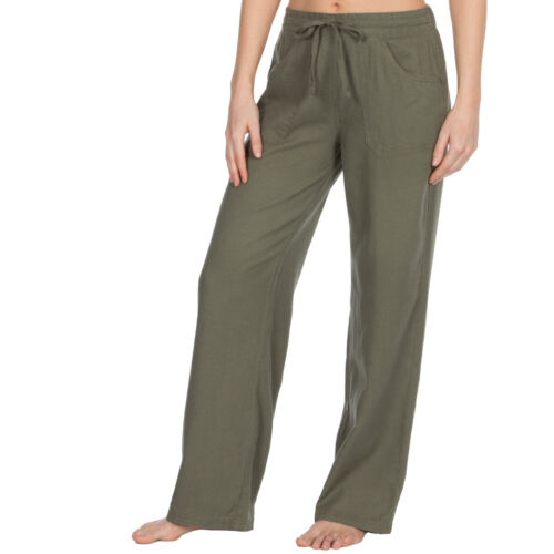 Womens Linen Trousers Wide Fit Summer Pants Drawstring PocketsRegular /& Plus