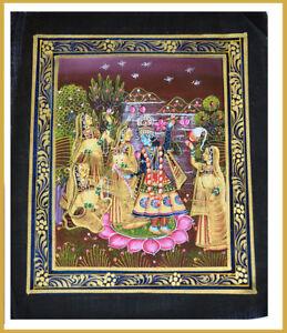 Radha-Krishna-Miniature-Original-Painting-on-Silk-Cloth-India-Natural-Colors