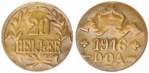 German-East-Africa-20-Heller-1916T-J-724b-Brass-3-Vf-Xf