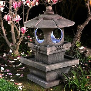 Details About Lighted Zen Outdoor Resin Garden Water Fountain Home Patio Decor