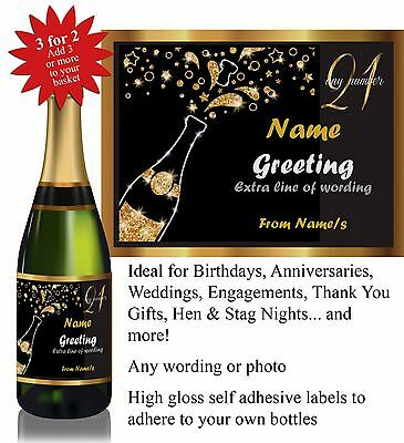 Personalised Birthday Anniversary Thank You Hen Bottle Label Gift *3 for 2* 004