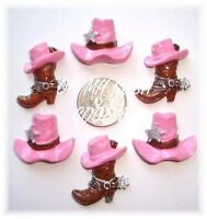 6pc Giddy Up Pink Cowboy Cowgirl Boot Hat Flatback Resins 4 Hairbow Bow Center