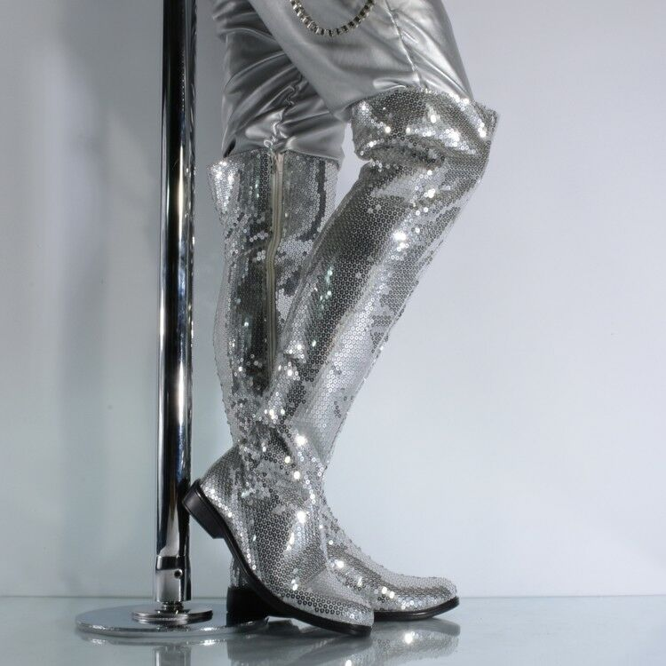 Fashion Mens Sequins Side Zip Bling Stage Show Shoes Over Knee High Long Boots