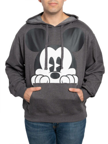 Men/'s Disney Peeking Mickey Mouse Hoodie Pullover Sweatshirt Charcoal