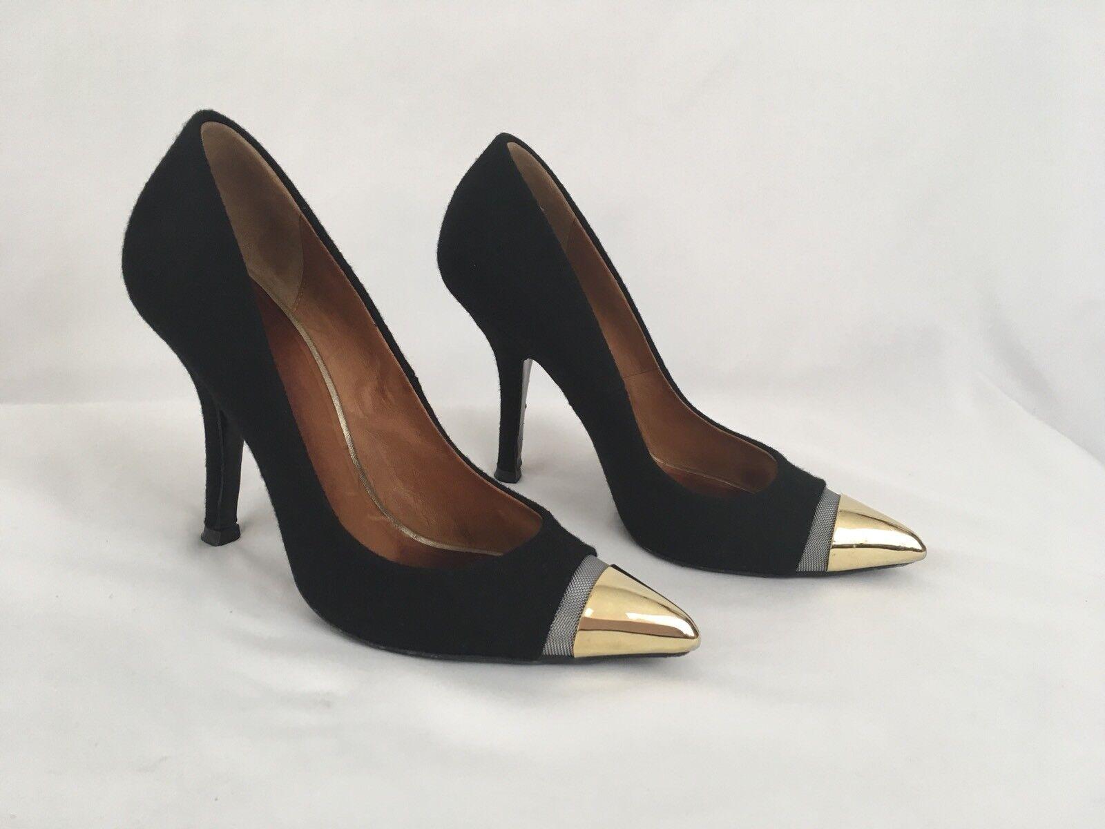 più economico GIVENCHY nero Felted Wool Covered Leather Pumps oro Toe Toe Toe 36.5  6.5 US RARE  all'ingrosso a buon mercato