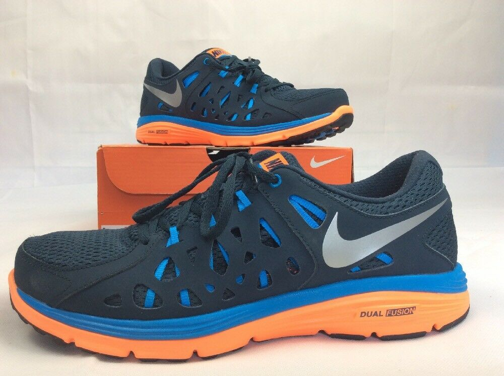 Nike Dual Fushion Run 2 Men Athletic Style 599541 bluee with Neon orange Size 11
