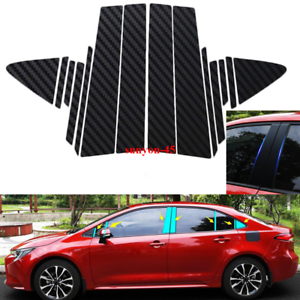 Vinyl Carbon Fiber Pillar Posts Window Door Trim FOR Toyota Corolla 2020