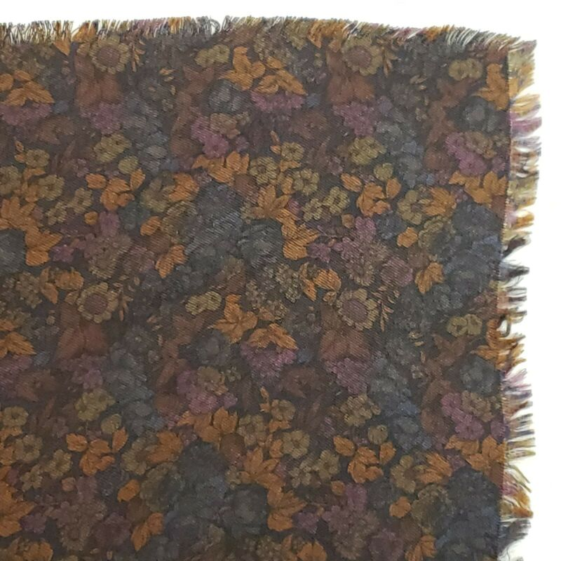 "Nice Vintage Scarf Silk Blend Fringe Edge Winter Weight Wrap Dark Floral Print 34"" Sq"