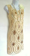 NUDE 1920'S STYLE GATSBY VINTAGE LOOK CHARLESTON SEQUIN FLAPPER DRESS SIZE 12/14