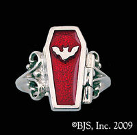Silver Coffin Ring, Vampire Jewelry, Coffin Opens, Available In 15 Colors,