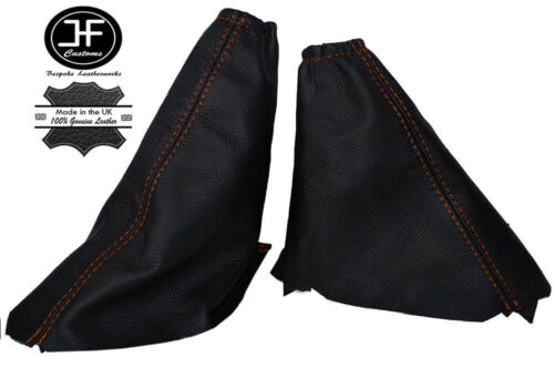 Orange Stitch Cuir Gear /& Frein à Main Guêtres set fits FORD FOCUS MK1 98-04