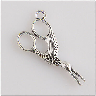 10 x Tibetan Silver Tone Crane Charms Pendants Beads for Jewellery Making