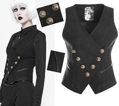 Gilet Officier Gothique Lolita Fashion Militaire Bouton Doré Sexy Fendu Punkrave Piacevole Al Palato