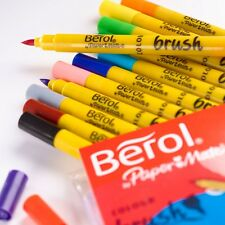 Set 12 Berol BRUSH Fibre Tip Felt Marker Assorted Colour Pens Colouring Washable