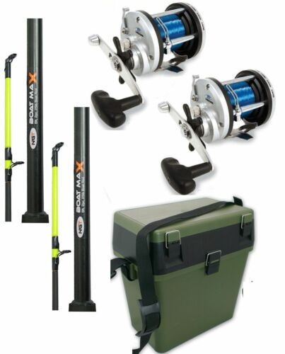 2 x SEA FISHING BOAT RODS + 2 x JD300 MULTIPLIER REELS + GREEN TACKLE SEAT BOX