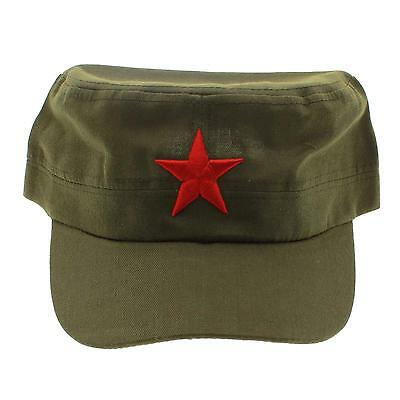 Featured Chinese Military Soldier Red Army Cotton Red Star Flat Cap Hat Headwear