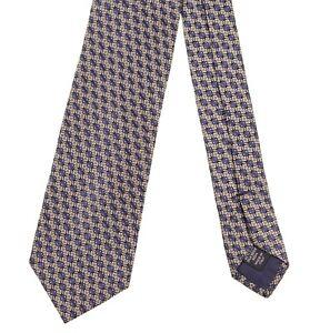 8856fc4b RECENT Ermenegildo Zegna Blue & Silver Woven Geometric Silk Tie   eBay
