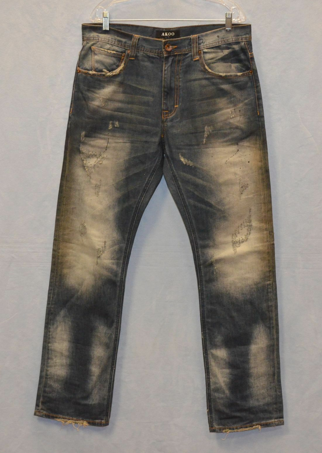 A7 Auth AKOO Painted Distressed Zip Fly Straight Logger Fit Jeans Size 34