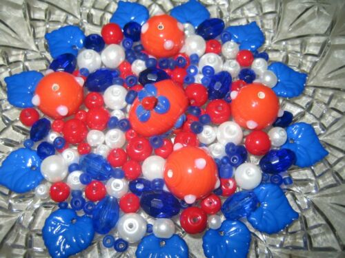 GLAS PERLEN MIX//PERLEN MIX 90 Stück LAMPWORK PERLEN kobalt rot weiß