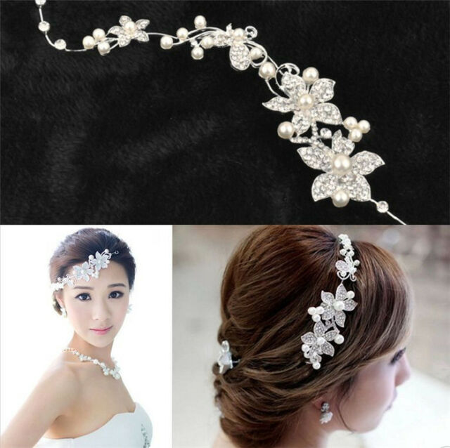 Womens Hair Jewelry Crystal Faux Pearl Flower Party Bridal Pins Clips Headband