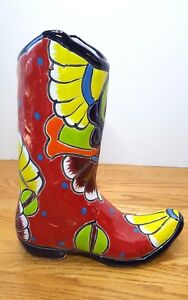Ceramic Colorful 11 Cowboy Boot Planter Mexico Folk Art Handpainted