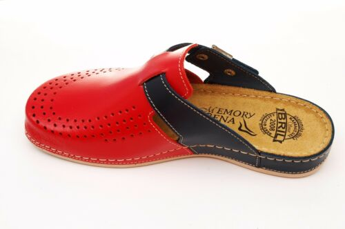 Red Slippers blue Slip Bril Y77 Punto Dr Rosso Mules Clogs Leather Women On qvBPWx7w