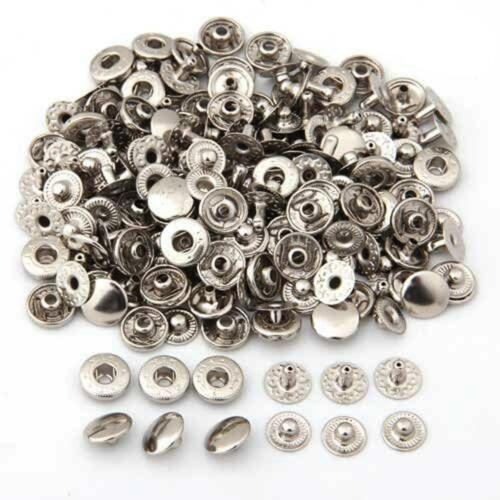 50 Set Metal No Sewing Press Studs Buttons Snap Fastener Popper 12mm