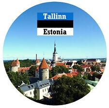 TALLINN, ESTONIA - SIGHTS / FLAG - ROUND NOVELTY SOUVENIR FRIDGE MAGNET - NEW