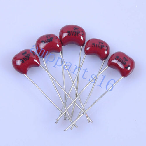 5pcs 5mm Guitar Amp Silver MICA Capacitor 510pF 500V Radial Amp For Audio Amp
