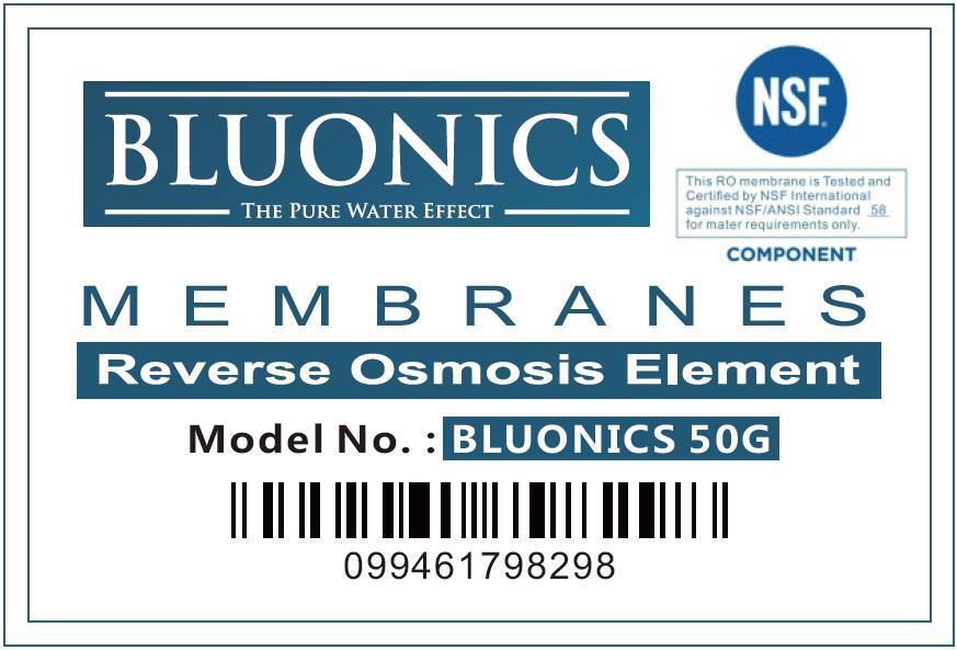 Bluonics 5 Stage Undersink Reverse Osmosis Drinking Water Filter System RO Home Purifier with NSF Certified Membrane with 4 years of Filter Supply 15 total Filters