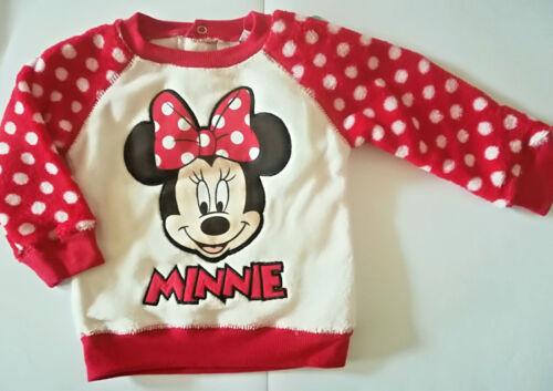 Disney Minnie Mouse Maus Baby Pullover Sweatshirt Gr 68 74 80 86 Kuschelfleece