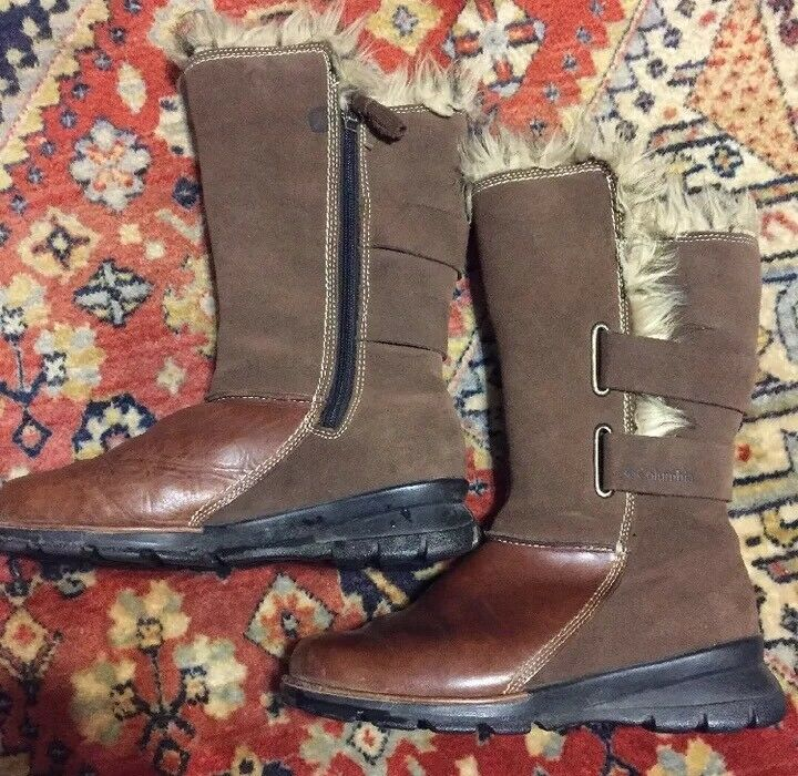 Columbia Boots Chamonix Shaggy Fur With Leather Winter Boots Columbia Size 7 Brown Women's 2578ba