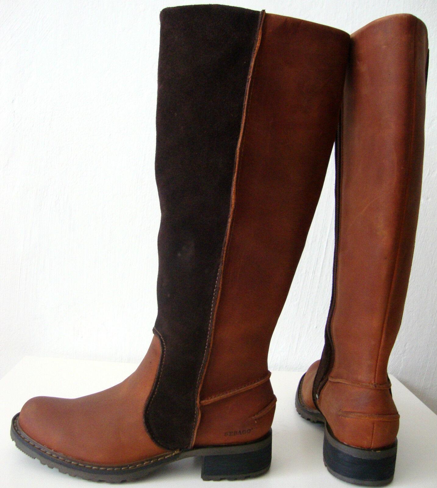 SEBBGO SBRBNBC TBLL Damen Stiefel Leder Boots Wadenhohe Stiefel Gr.35 NEU