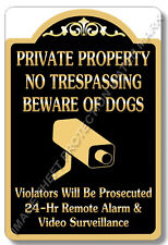 "Private Property No Trespassing Beware of Dogs Video Surveillance Sign 8""x12"""