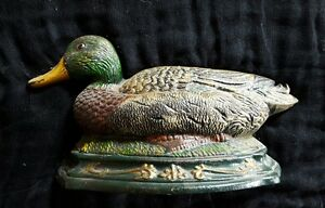 "Cast Iron Mallard Duck Door Stop 10"" By 5 1/2"""