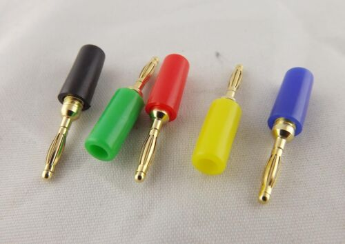 50x 2mm Gold Banana Male Plug f Test Probes Instrument Meter Conversion 5 Colors
